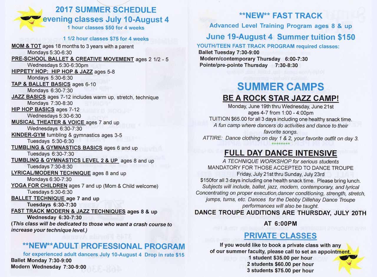 2017 Summer Class Schedule